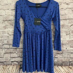 ‼️🆕ASOS Petite Black Bird Babydoll Dress Size 6‼️